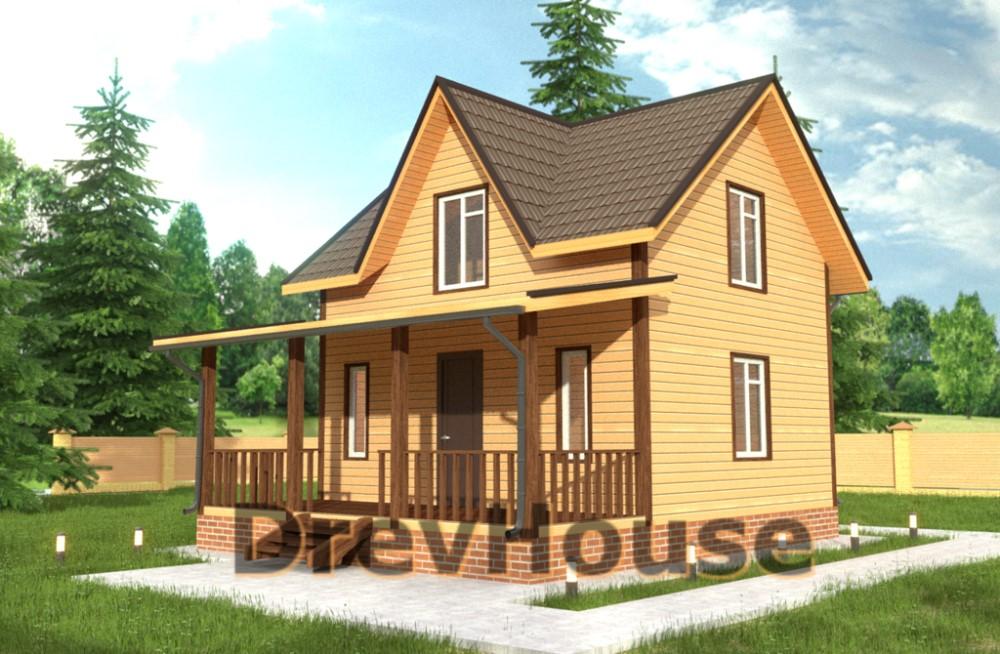 Главное фото проекта полутораэтажного дома из бруса ДБ-38