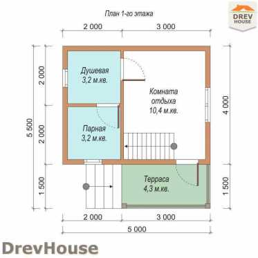 План 1 этажа проекта бани с мансардой из бруса «Наваро» 5х5