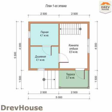 План 1 этажа проекта бани с мансардой из бруса «Прато» 5х5
