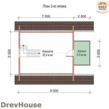 План 2 этажа проекта бани с мансардой из бруса «Кротон» 7х9