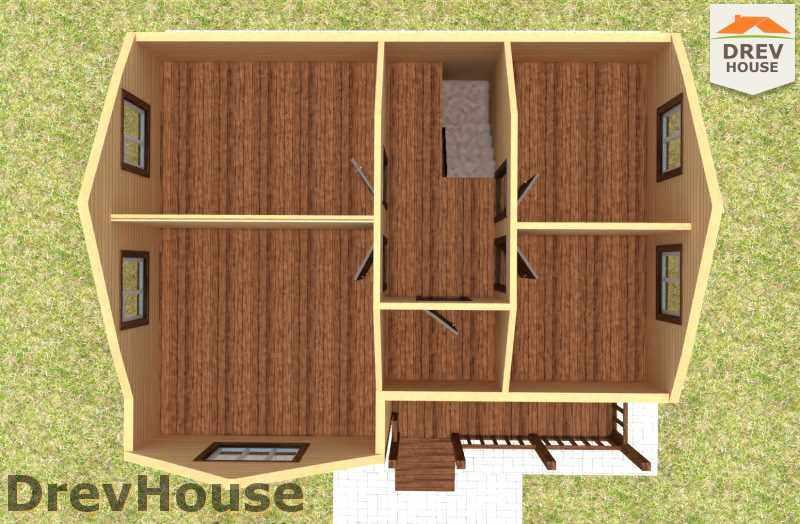 Вид изнутри 2 этажа проекта полутораэтажного дома из бруса ДБ-17