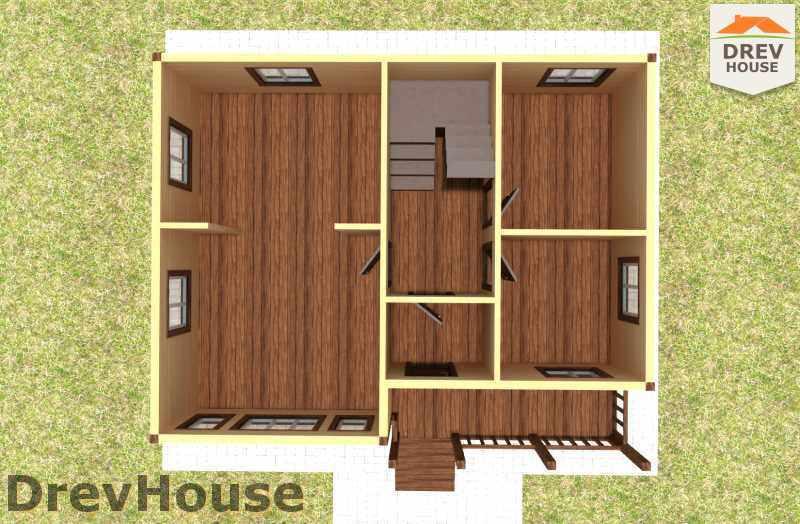Вид изнутри 1 этажа проекта полутораэтажного дома из бруса ДБ-17