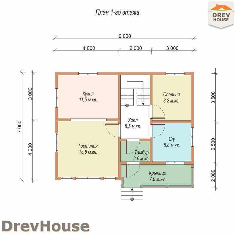План 1 этажа полутораэтажного дома из бруса ДБ-17