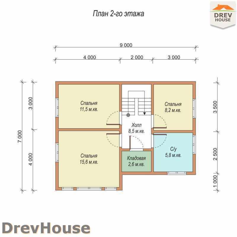 План 2 этажа полутораэтажного дома из бруса ДБ-17