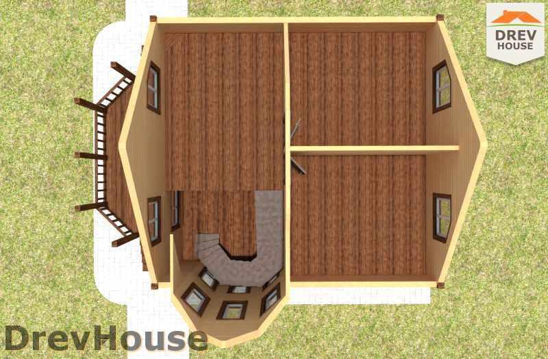 Вид изнутри 2 этажа проекта полутораэтажного дома из бруса ДБ-16