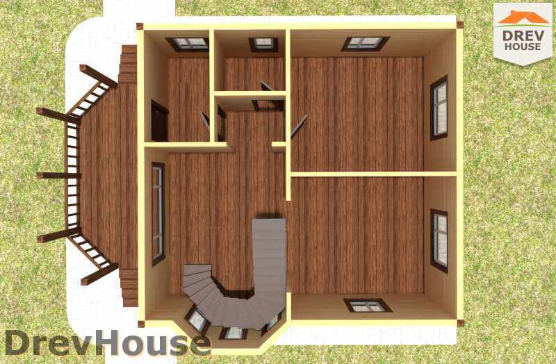 Вид изнутри 1 этажа проекта полутораэтажного дома из бруса ДБ-16