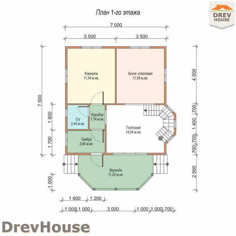 План 1 этажа полутораэтажного дома из бруса ДБ-16