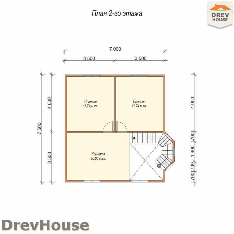 План 2 этажа полутораэтажного дома из бруса ДБ-16
