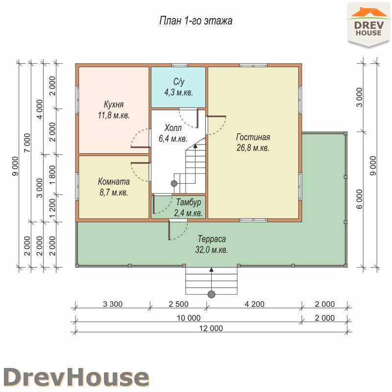 План 1 этажа дома из бруса с мансардой ДБ-15