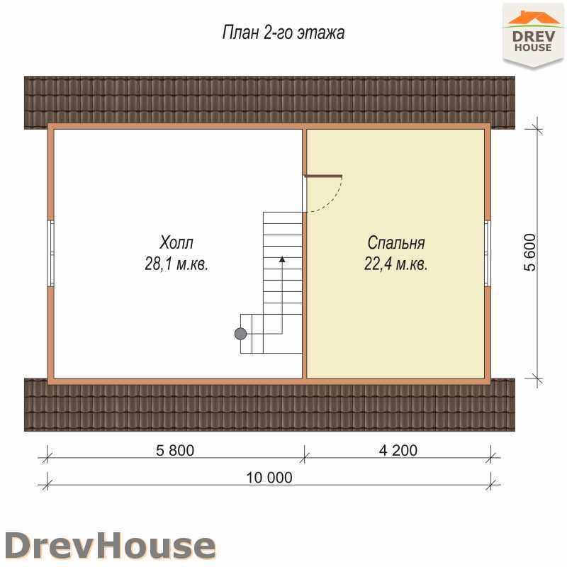 План 2 этажа дома из бруса с мансардой ДБ-15