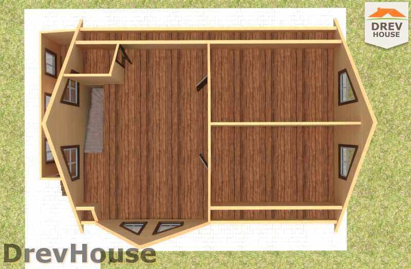 Вид изнутри 2 этажа проекта дома из бруса с мансардой ДБ-14