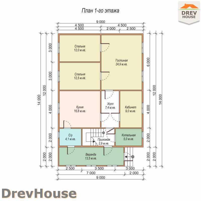 План 1 этажа дома из бруса с мансардой ДБ-14