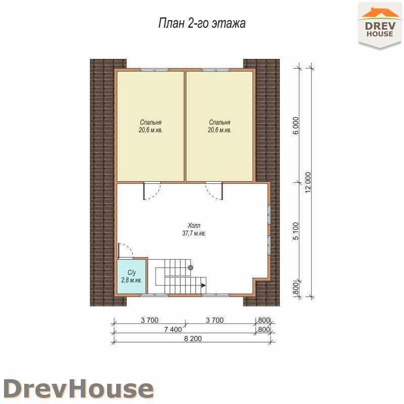 План 2 этажа дома из бруса с мансардой ДБ-14