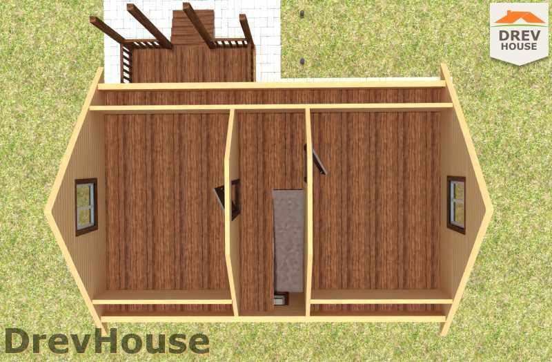 Вид изнутри 2 этажа проекта дома из бруса с мансардой ДБ-13