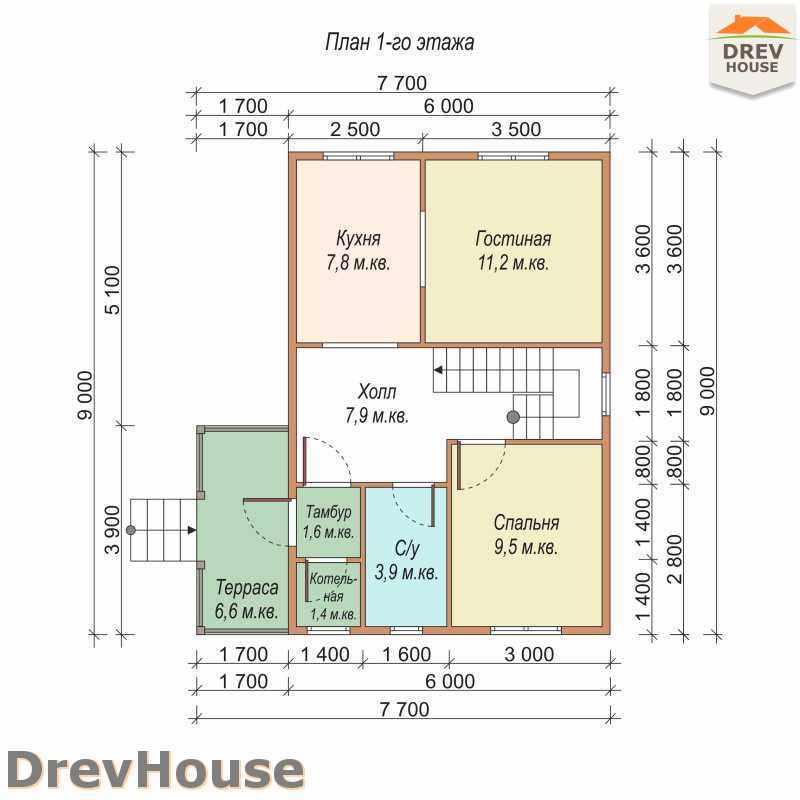 План 1 этажа дома из бруса с мансардой ДБ-13