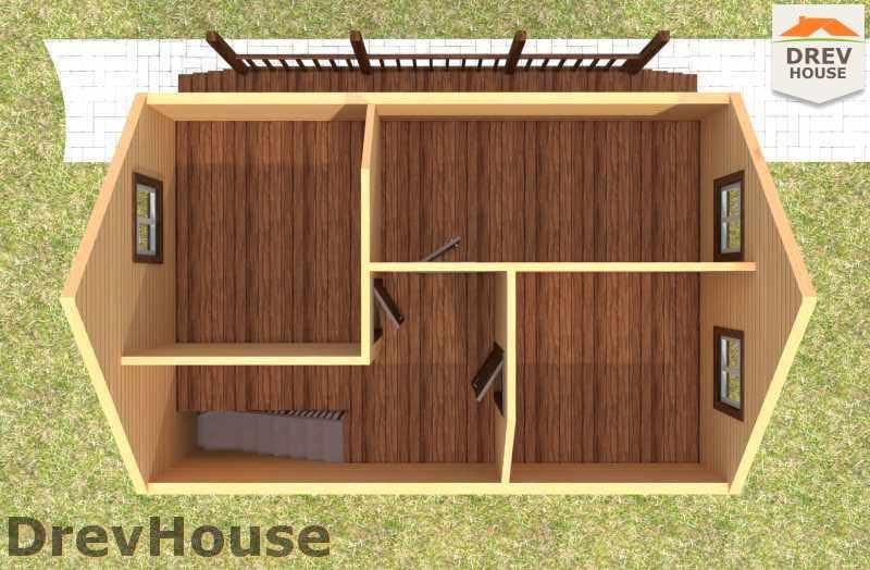 Вид изнутри 2 этажа проекта полутораэтажного дома из бруса ДБ-12