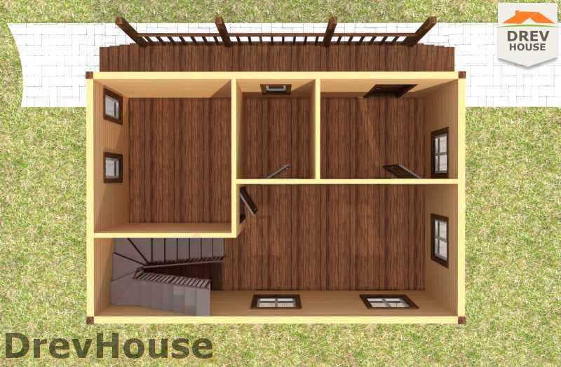 Вид изнутри 1 этажа проекта полутораэтажного дома из бруса ДБ-12