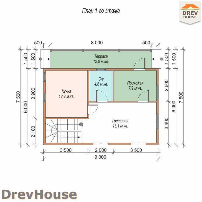 План 1 этажа полутораэтажного дома из бруса ДБ-12