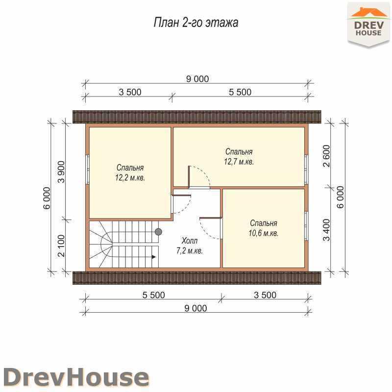 План 2 этажа полутораэтажного дома из бруса ДБ-12