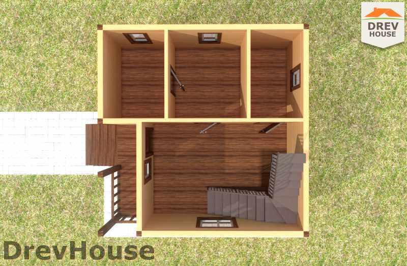 Вид изнутри 1 этажа проекта дома из бруса с мансардой ДБ-11