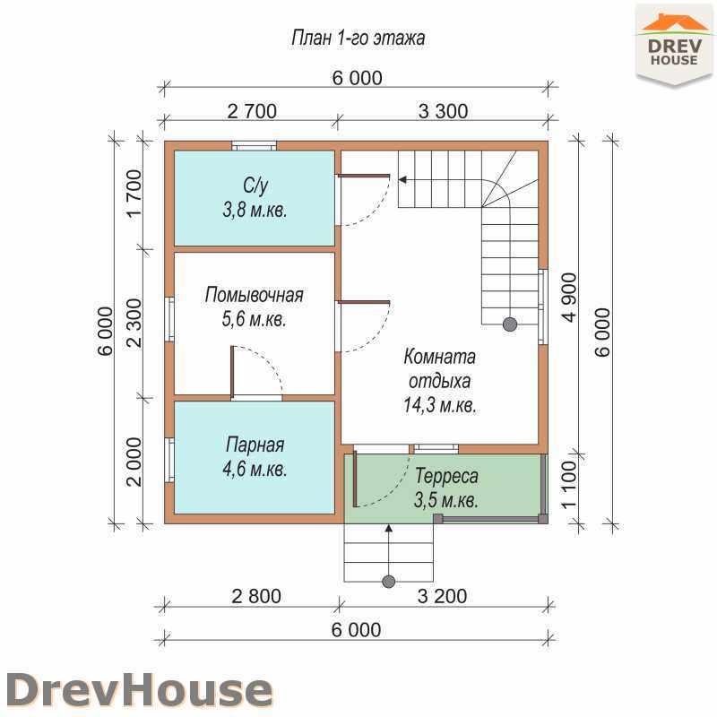 План 1 этажа дома из бруса с мансардой ДБ-11
