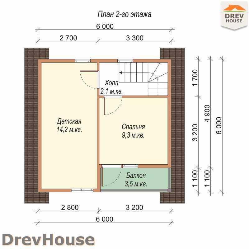 План 2 этажа дома из бруса с мансардой ДБ-11