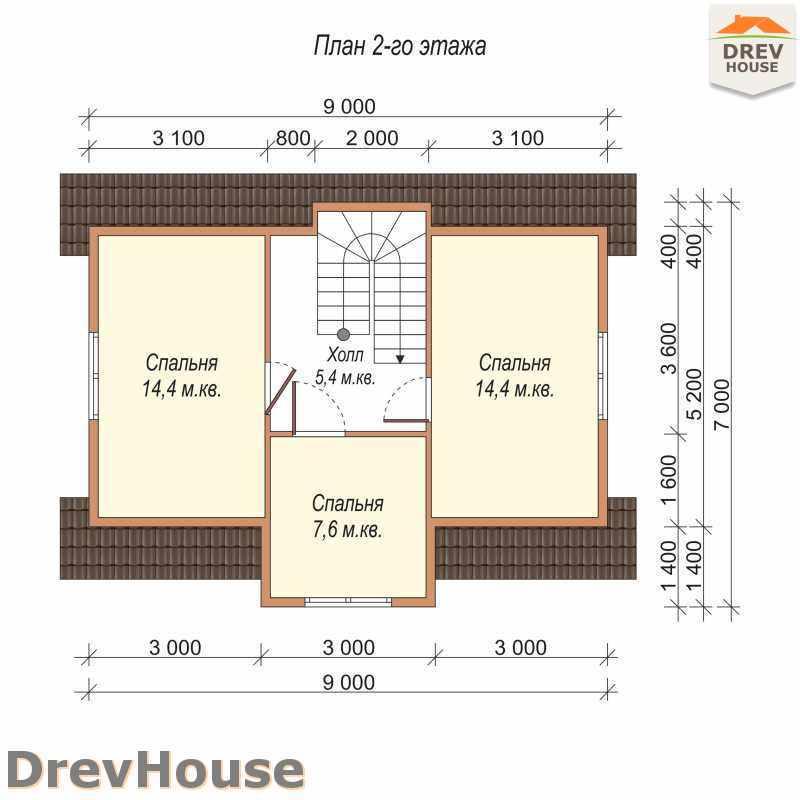План 2 этажа дома из бруса с мансардой ДБ-10