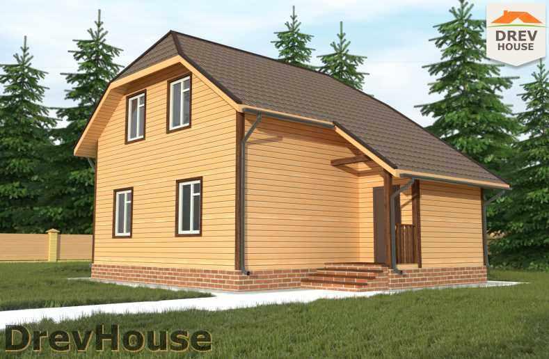 Главное фото проекта полутораэтажного дома из бруса ДБ-9