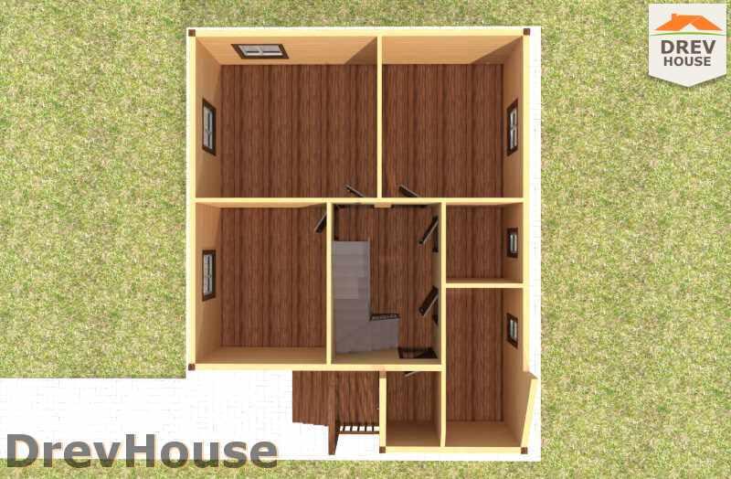 Вид изнутри 1 этажа проекта дома из бруса с мансардой ДБ-9