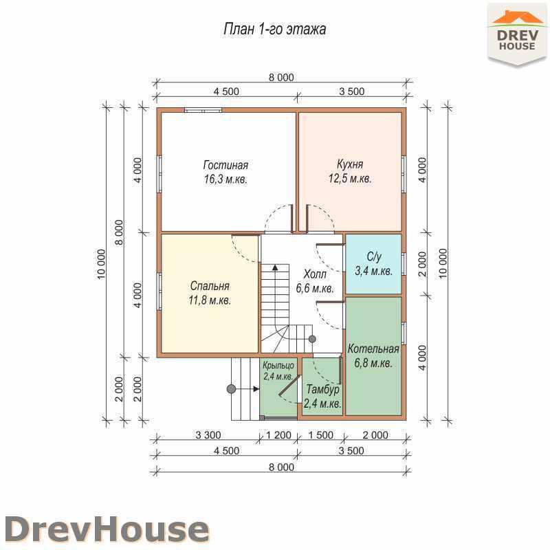 План 1 этажа дома из бруса с мансардой ДБ-9