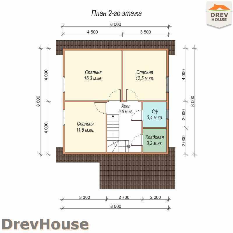 План 2 этажа дома из бруса с мансардой ДБ-9