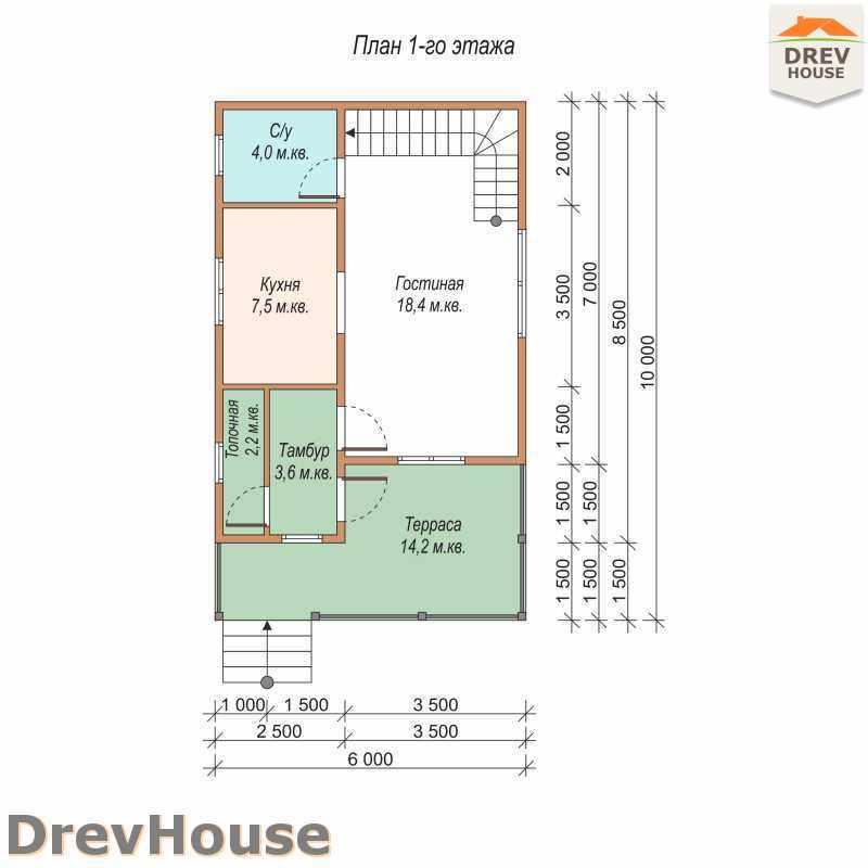 План 1 этажа дома из бруса с мансардой ДБ-8