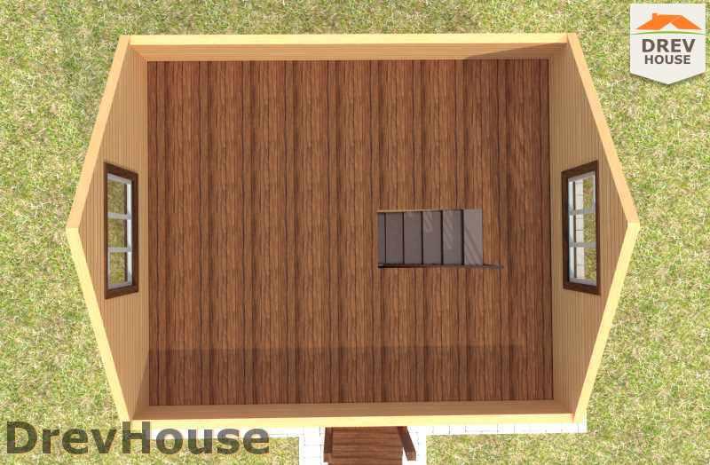 Вид изнутри 2 этажа проекта дома из бруса с мансардой ДБ-7