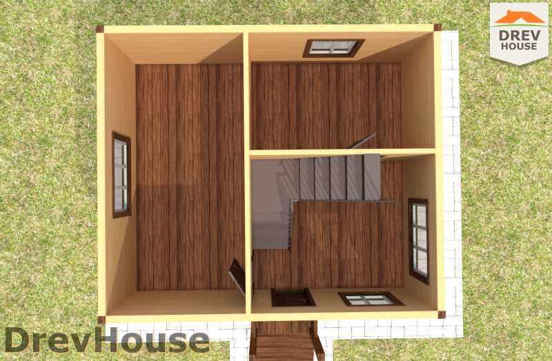 Вид изнутри 1 этажа проекта дома из бруса с мансардой ДБ-7