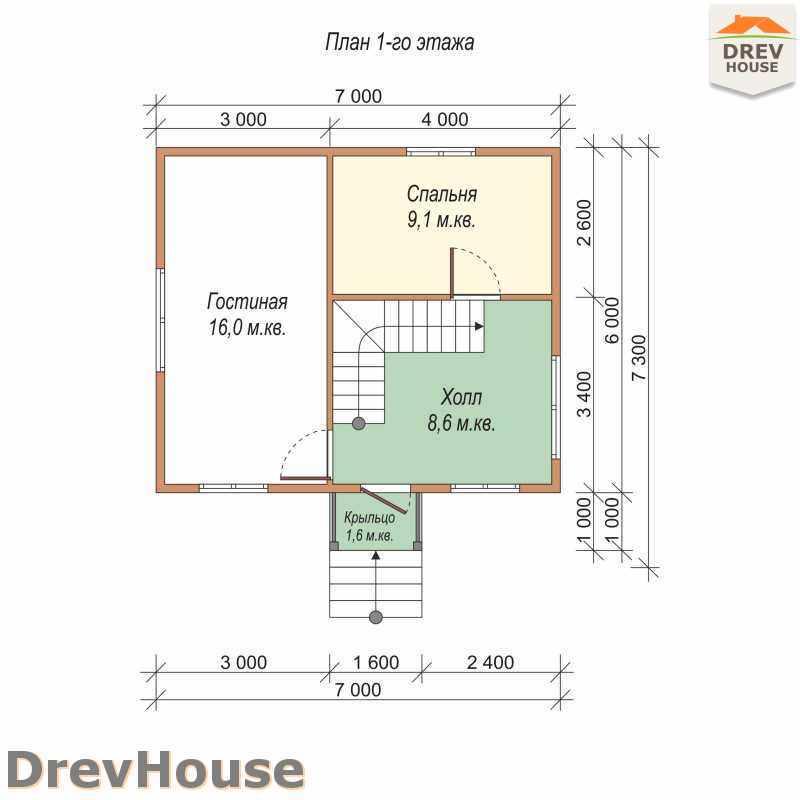 План 1 этажа дома из бруса с мансардой ДБ-7