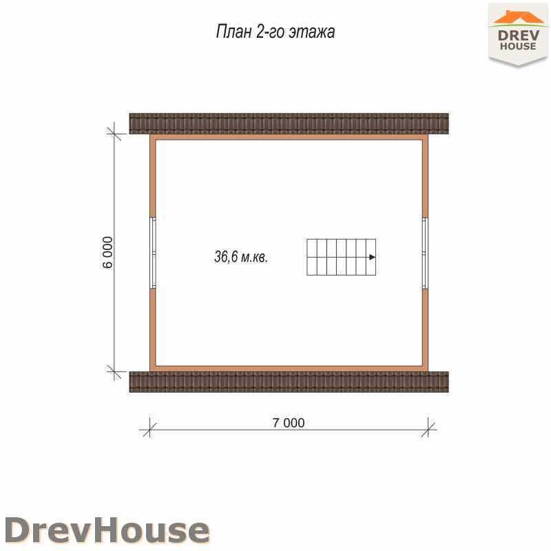План 2 этажа дома из бруса с мансардой ДБ-7