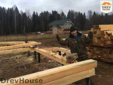 Строительство дома из бруса в СНТ Манюхино   фаза 1