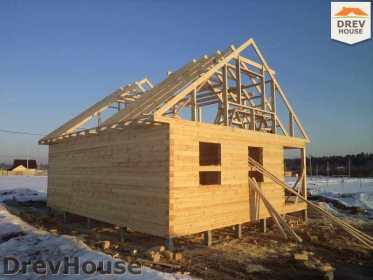 Строительство дома из бруса в деревне Ямуга   фаза 10