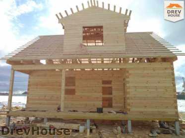 Строительство дома из бруса в деревне Ямуга   фаза 13