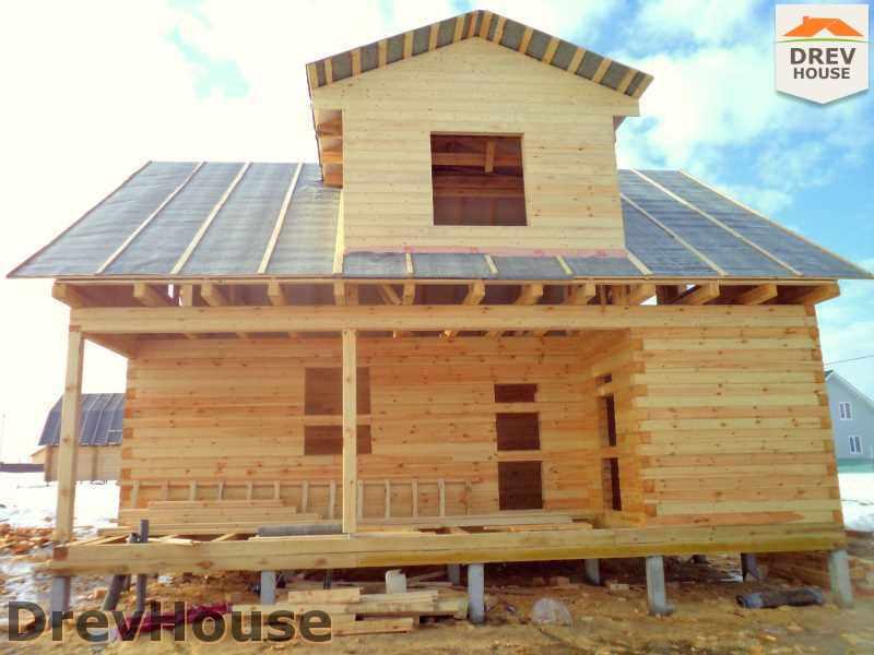 Фоторепортаж строительства дома из бруса в д. Ямуга, Клинский р-н, МО