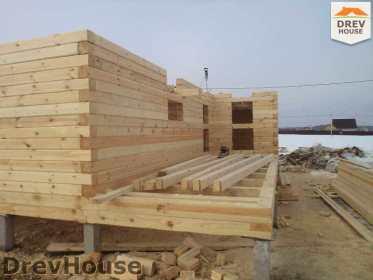 Строительство дома из бруса в деревне Ямуга   фаза 2