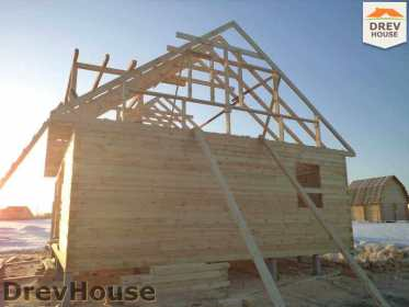 Строительство дома из бруса в деревне Ямуга   фаза 8