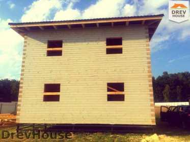 Фоторепортаж строительства дома из бруса в коттеджном поселке Панорамы, МО