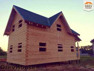 Фоторепортаж строительства дома из бруса в поселке Мансурово, МО