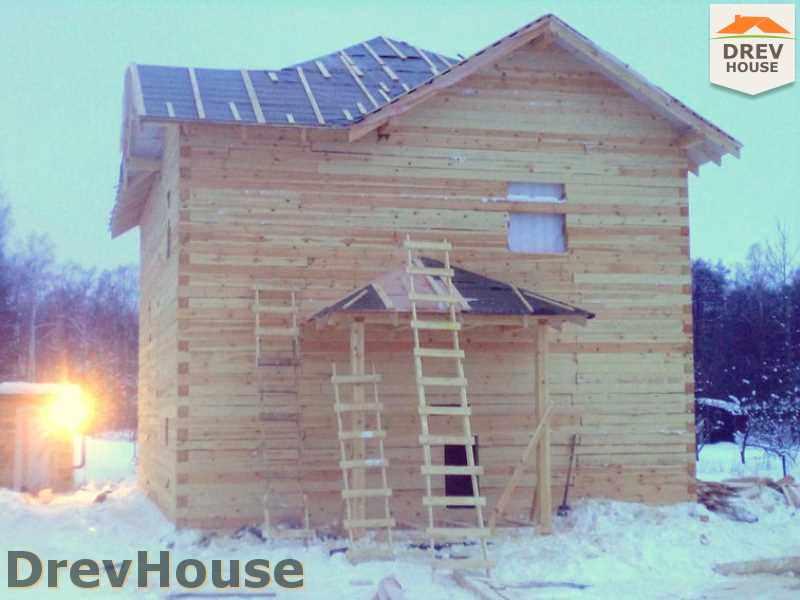 Фоторепортаж строительства дома из бруса в пос. Нарцисс, МО