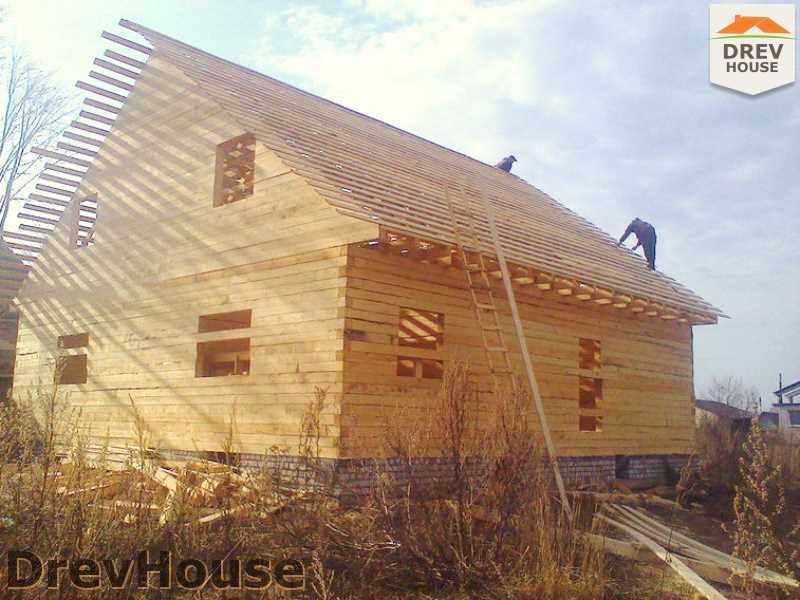 Фоторепортаж строительства дома из бруса в пос. Строитель, МО