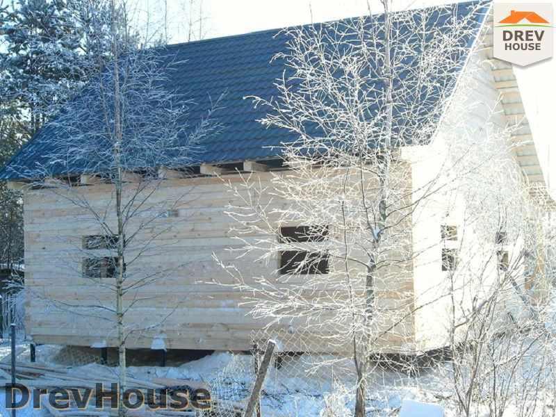 Фоторепортаж строительства дома из бруса в пос. Вишневый сад, МО