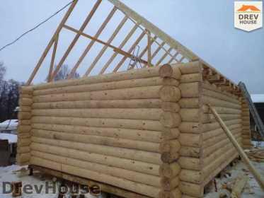 Строительство сруба дома из бревна в деревне Авдотьино   фаза 11