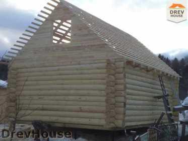 Строительство сруба дома из бревна в деревне Авдотьино   фаза 13