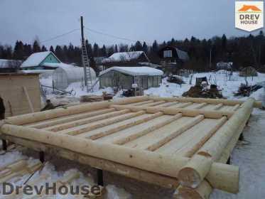 Строительство сруба дома из бревна в деревне Авдотьино   фаза 4